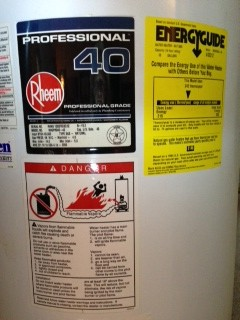 Chart rheem hot heater age water